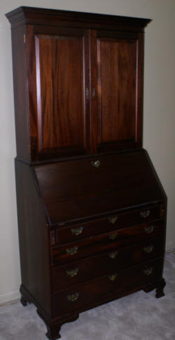 Craftique solid mahogany two piece New Bern secretary desk