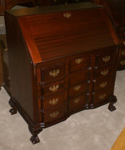 Solid mahogany block front Chippendale Governor Winthrop desk