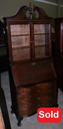 serpentine front antique mahogany secretary desk