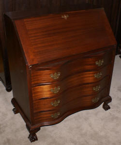 mahogany serpentine front Governor Winthrop desk
