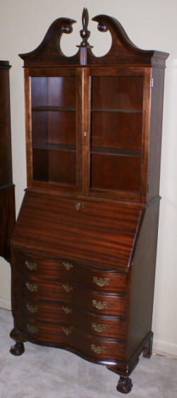 Serpentine front mahogany Chippendale secretary desk