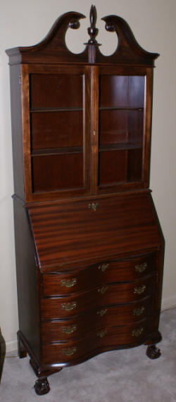 Serpentine Front Mahogany Secretary Desk