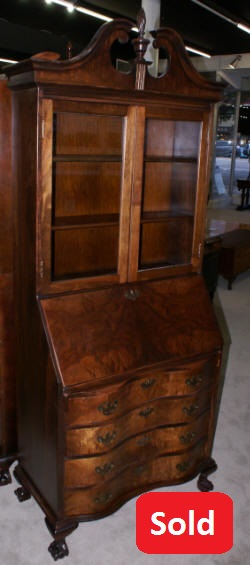 Flame walnut 1930s antique Chippendale secretary desk
