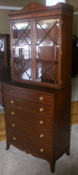 Antique Hepplewhite Mahogany Butlers Secretary Desk