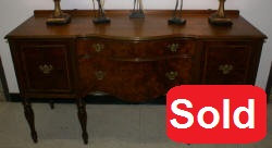 Burl walnut 1930s serpentine front sideboard