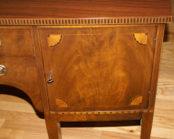 Inlaid bow front walnut Hepplewhite sideboard