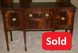 English mahogany brass inlaid Hepplewhite sideboard