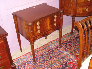 image of light mahogany 3 drawer silver chest