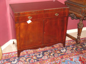 image of antique mahogany inlaid silver chest