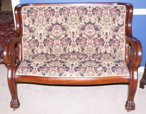 image of Empire mahogany paw foot settee