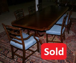 Banded inlaid modern mahogany dining room table with a set of 8 1940s ribbon back solid mahogany dining room chairs