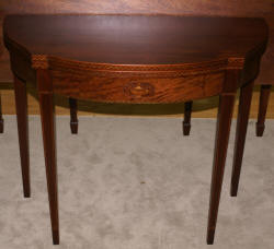 Mahogany urn inlaid antique flip top game table