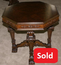 Adams decorated walnut octagon antique center table