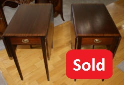 Matched pair of mahogany banded inlaid Council Craftsman end tables