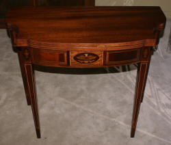 Federal inlaid mahogany flip top antique game table