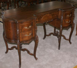 French carved antique walnut inlaid vanity